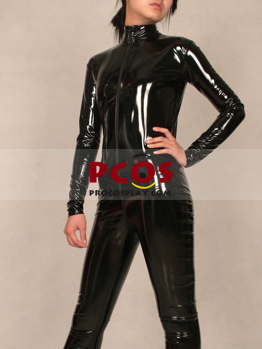 Picture of Black PVC Zipper Shiny Metallic Unisex Zentai Suit B043