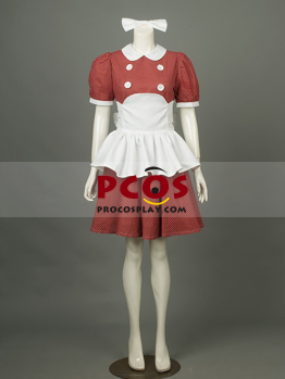 Picture of BioShock Little Sister Burgandy Cosplay Costumes With White Dots mp001638